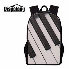 Dispalang Piano 3D Print School Backpack Musical Notes Bookbags for Children Trendy Bagpack Girls Rucksacks Teens Art Mochilas