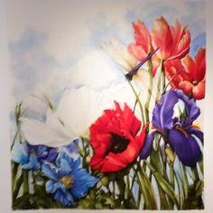 """Lynn"", Garden Dfly, 36 x 38, by Karen Sistek at Courtyard Gallery, La Conner, WA"