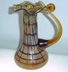 Gorgeous JUGENDSTIL Art Nouveau BOHEMIAN Glass PITCHER Vase INTRIGUING Textures