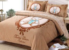 Cute Apricot 100% Cotton Kids Bedding Sets Kids Bedding Sets Kids Bedding Sets, Comforters, Teddy Bear, Bed Sets, Blanket, Cute, Cotton, Baby, Furniture