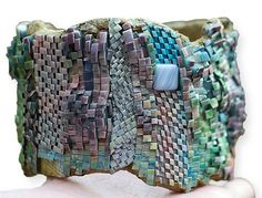New Hampshire's Sheila Perry posted some pictures of the Encrusted work of guild members in Jana Roberts Benzon's weekend class including Sheila's own work here. The undulating collaged cuffs appear positively impossible to create in polymer bu [. Fimo Clay, Polymer Clay Crafts, Polymer Clay Jewelry, Funky Jewelry, Seed Bead Jewelry, Beaded Jewelry, Jewellery, Polymer Project, Polymer Clay Projects