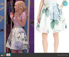 Liv's metallic pink top and rose print skirt on Liv and Maddie.  Outfit Details: https://wornontv.net/51130/ #LivandMaddie