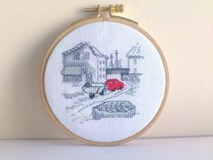 Embroidery Permin Red car Fishin Town Emboidery hoop by SiBoArt