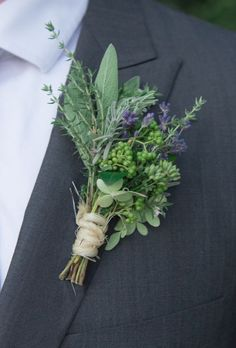 Lavender, sage and Rosemary boutonnières