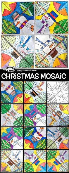 Winter Crafts For Kids Christmas Art Projects, Winter Art Projects, School Art Projects, Christmas Crafts For Kids, Christmas Tree, Christmas Mosaics, Mosaics For Kids, Art Activities, Art Projects