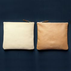 leather clutch in butter & toffee