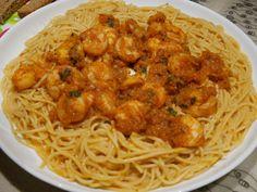 www.cookandfeel.gr garidomakaronada Spaghetti, Chicken, Meat, Ethnic Recipes, Food, Essen, Meals, Yemek, Noodle