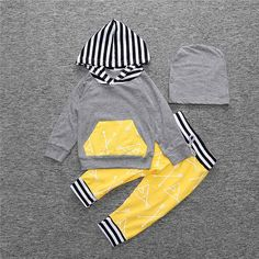 Spring Autumn 2017 Newborn Toddler Baby Boys Girls Hoodies Coat Tops Pants Hat Outfits Clothes Set #Affiliate