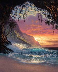 Sunrise sunset clouds ocean cave