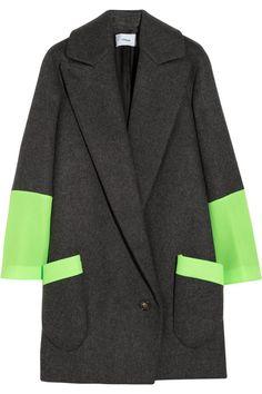 Chalayan Signature Station Pocket neon mesh and wool-felt coat