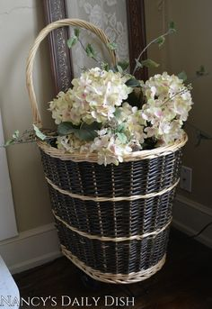 Handwoven Rattan / Wicker Rolling French Market Basket / Shopping Cart