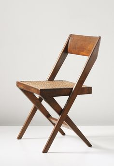 Pierre Jeanneret; #PJ-SI-51-A Teak and Cane 'Library' Chair for the High Court and Punjab University in Chandigarh, 1959-60.