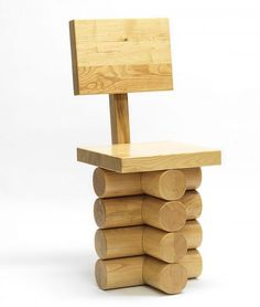 The chestnut wood Forest chair of Thomas Schnur's The Fragments of the Ordinary exhibition mimics designs that are crafted from tree trunks.
