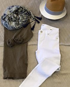 #ootd Get casual this weekend! WILT top, $29 NYC scarf and hat, white denim from Hudson Jeans #shopfayes #shoplocal