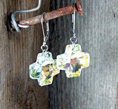 Dangle Crystal Ab Swarovski Cross earrings - Surgical Steel Jewelry - french clip by SteelJewelryShop on Etsy
