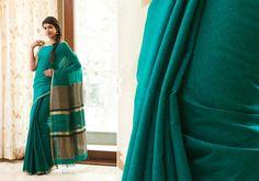 Silk Sarees - Elegant blue Matka silk hand woven saree with striped border PC 16623 - Main