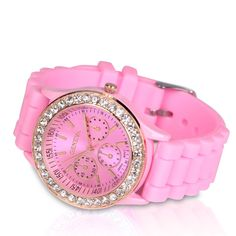 Reloj de silicona DIAMOND en color rosa