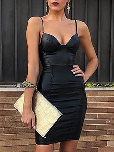 Shop PU Solid Spaghrtti Strap Bodycon Dress – Discover sexy women fashion at  IVRose e2faa541d