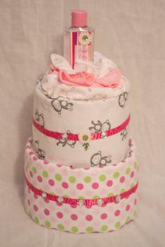 Baby girl mini diaper cake