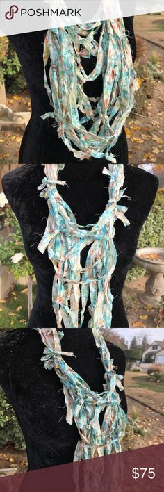 Multi textured knotted strands infinity scarf Beautiful pop of color to any wardrobe fashion Second Nature Designs by cc Accessories Scarves & Wraps