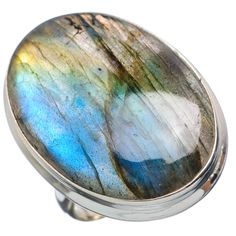 Huge Labradorite 925 Sterling Silver Ring Size 7.5 RING721175