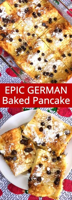 Baked German Pancakes I love this giant German baked pancake! It's so much easier to make than regular pancakes and it tastes amazing!I love this giant German baked pancake! It's so much easier to make than regular pancakes and it tastes amazing! German Pancakes Recipe, Baked Pancakes, Tasty Pancakes, Breakfast Pancakes, Pancakes And Waffles, Breakfast Dishes, Breakfast Casserole, Brunch Recipes, Dessert Recipes
