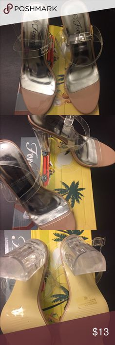 Clear Heel/ Nude Sandals Clear Heel and Straps Nude color Sandals- New Never Worn. ( runs small) Forever Shoes Sandals