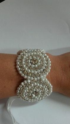 Hand beaded diamante and pearl cuff bracelet
