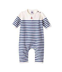 Combinaison longue bébé garçon en tricot laine et coton à rayures
