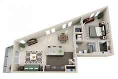 50 One Bedroom Apartment& Plans Apartment Layout, One Bedroom Apartment, Apartment Design, Couples Apartment, One Bedroom House Plans, 3d House Plans, Layouts Casa, House Layouts, Home Design Plans