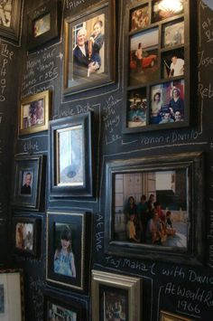 This is such a cool idea.  Really! Chalkboard wall with friends and family photos. Captions written in chalk.  Fabulous!