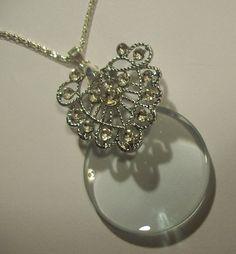 Silver Ornate Rhinestone Filigree Magnifying by JENSTARDESIGNS, $40.00