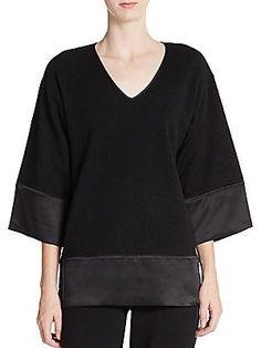 Josie Natori Cashmere & Silk Kimono-Sleeve Sweatshirt -