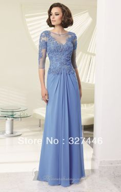 Elegent Dresses for Mother of the Bride Groom Gowns 2014 Chiffon Lace Appliqued with Jacket Half Sleeves Special Occasion Formal US $90.60