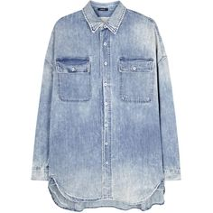 R13 X-Oversized faded blue denim shirt ($475) ❤ liked on Polyvore featuring tops, distressed top, drop shoulder shirt, faded denim shirt, denim top and blue denim shirt