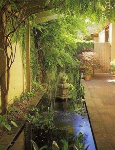 People...call me weird - but this is what I want my kitchen to feel like. LOVE the idea of a lil pond and running water inside the home AND the greenery. Beautiful <3