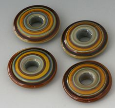 Southwest Discs - (4) Handmade Lampwork Beads - Squash, Brown