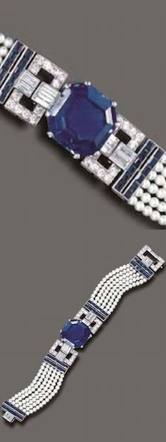 *AN ELEGANT SAPPHIRE, DIAMOND AND SEED PEARL BRACELET, BY CARTIER Centering upon a square-cut sapphire, weighing approximately 35.54 carats, flanked on either side by twin bagette-cut diamonds, circular-cut diamond rectangular links and calibré-cut sapphire spacers, joined to the six-strand seed pearl bracelet, enhanced by a clasp of similar design, mounted in platinum, circa 1925, 6½ ins. Signed Cartier, no. 24121
