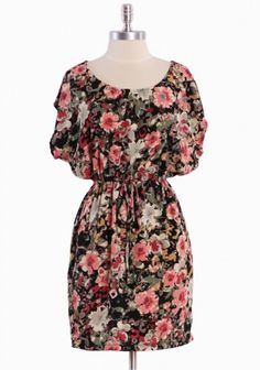 Impressionistic Thoughts Floral Dress In Black $36.99
