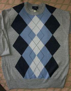 Womens ARGYLE Golf Sweater Crew Neck Gray/Blue/Black LS- Soft Acrylic size M #DOCKERS #Crewneck
