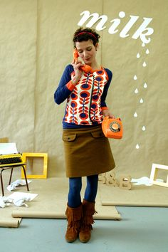 SPORTY LANGARM 'MARIKKA'IN ORANGE-BLAU - Bonnie-and-Buttermilk - Tshirts (longsleeved)