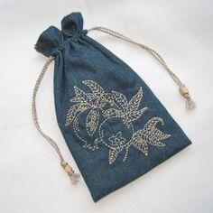#Pomegranate Embroidered #Judaic Design Tiny Tote Purse Organizer by MrsStitchesDesigns, $6.00