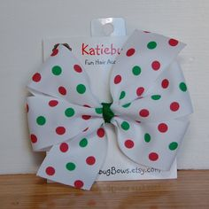 Christmas Extra Large 5 inch White Pinwheel Bow by KatiebugBows, $6.00