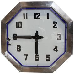 Large American Double-Sided Chrome Neon Clock, 1930s   From a unique collection of antique and modern clocks at https://www.1stdibs.com/furniture/decorative-objects/clocks/