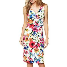 American Living V-Neck Floral Dress - jcpenney