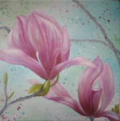 ARTFINDER: Magnificent Magnolias by Kaye Lake - larger than life magnolia blooms jump out of an impressionistic, textured background. Painted in oils using pastel colours, for a vintage, shabby chic look. ...