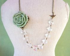 sage green rose with crystal glass beads and brass by BijouxMimi, $28.00