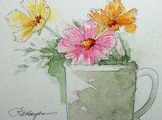 Cosmos Floral Watercolor Painting Original ACEO. $18.00, via Etsy.