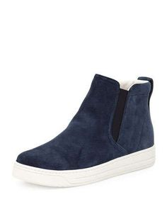 Suede High-Top Slip-On Sneaker, Navy (Oltremare) by Prada at Neiman Marcus.