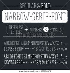 Hand drawn narrow alphabet. Uppercase tall and thin letters and symbols on chalkboard. Handdrawn typography. Narrow doodle font. Light and bold condensed type. Hipster letters.